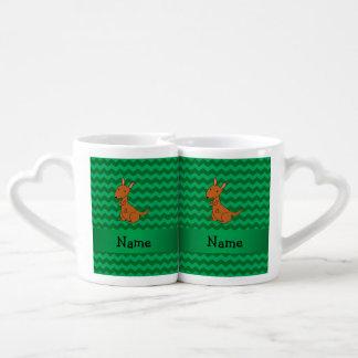 Personalized name kangaroo green chevrons lovers mug sets