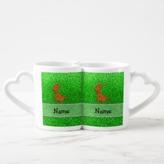 Personalized name kangaroo green glitter lovers mug