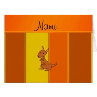 Personalized name kangaroo orange yellow stripes big greeting card