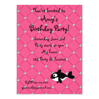 Personalized name killer whale pink diamonds 14 cm x 19 cm invitation card
