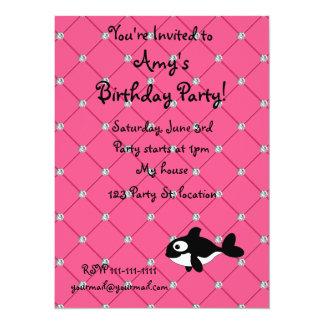 Personalized name killer whale pink diamonds custom invites