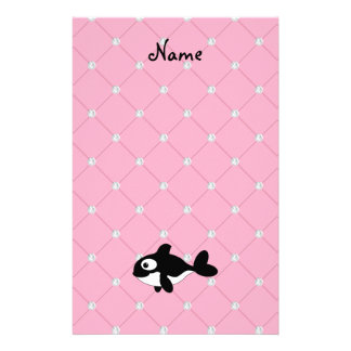 Personalized name killer whale pink diamonds stationery design