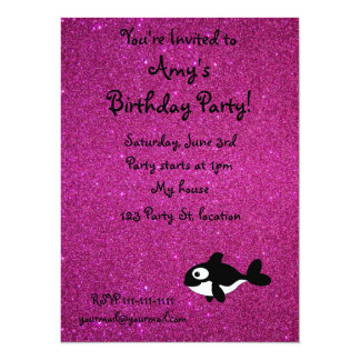 Personalized name killer whale pink glitter 5.5x7.5 paper invitation card