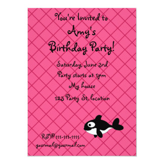Personalized name killer whale pink grid pattern 14 cm x 19 cm invitation card