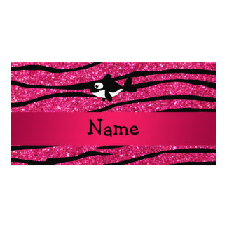 Personalized name killer whale zebra stripes photo card template