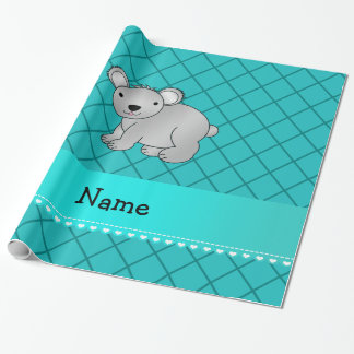 Personalized name koala bear turquoise grid gift wrap paper