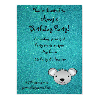 Personalized name koala face turquoise glitter 14 cm x 19 cm invitation card
