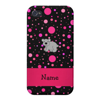 Personalized name koala pink polka dots case for iPhone 4