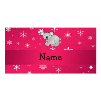Personalized name koala pink snowflakes photo greeting card