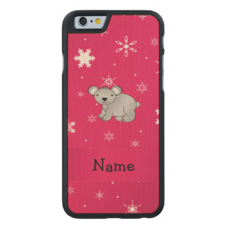 Personalized name koala pink snowflakes carved® maple iPhone 6 case