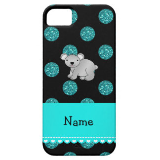 Personalized name koala turquoise polka dots iPhone 5 covers