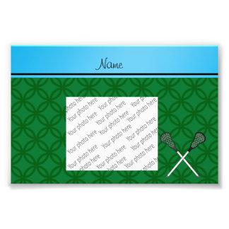 Personalized name lacrosse sticks green circles photo