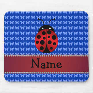 Personalized name ladybug blue butterflies mouse pad