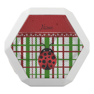 Personalized name ladybug christmas plaid