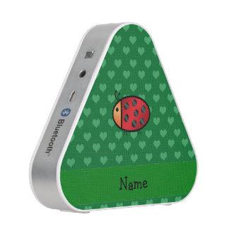 Personalized name ladybug green hearts