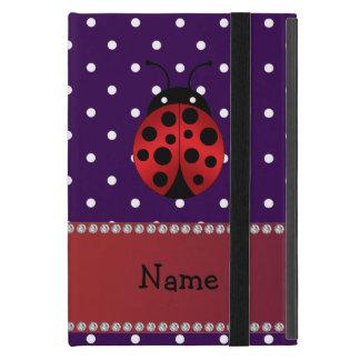 Personalized name ladybug purple polka dots cover for iPad mini