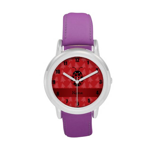 Personalized name ladybug red christmas trees wristwatch