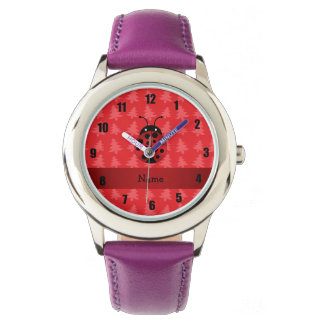 Personalized name ladybug red christmas trees wristwatches