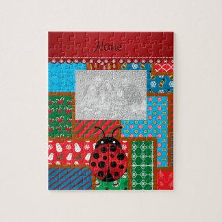 Personalized name ladybug ugly christmas sweater jigsaw puzzle