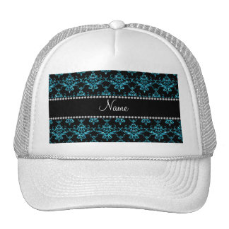 Personalized name light blue damask trucker hat
