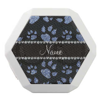 Personalized name light blue glitter cat paws white boombot rex bluetooth speaker