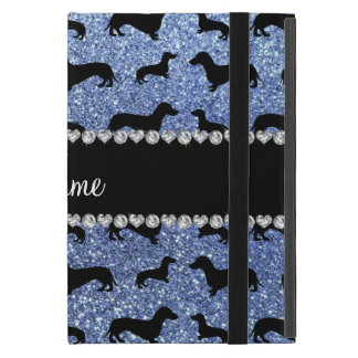 Personalized name light blue glitter dachshunds covers for iPad mini