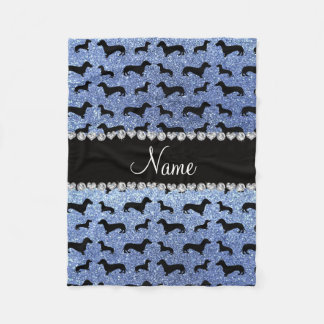 Personalized name light blue glitter dachshunds fleece blanket