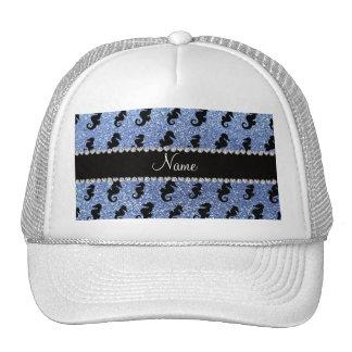 Personalized name light blue glitter seahorses mesh hat