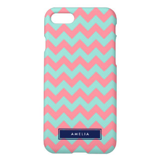 Personalized Name Light Blue & Pink Pastel Chevron iPhone 7 Case