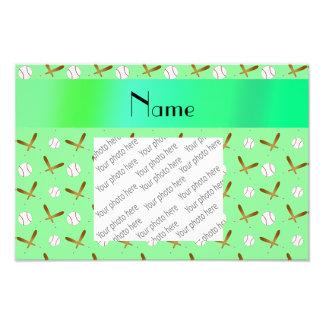 Personalized name light green baseball photo print
