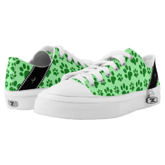 Personalized name light green dog paw prints printed shoes