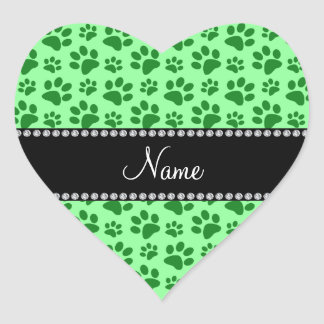 Personalized name light green dog paw prints heart sticker