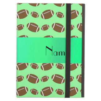 Personalized name light green footballs iPad air covers