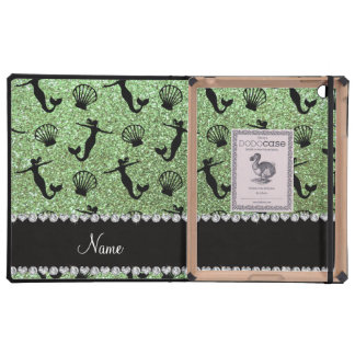 Personalized name light green glitter mermaids iPad case