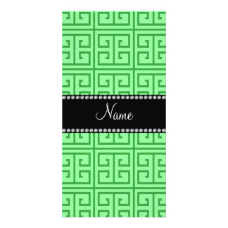 Personalized name light green greek key pattern photo cards