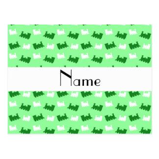 Personalized name light green train pattern postcard