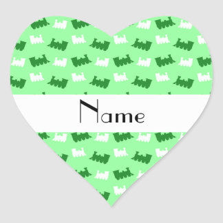 Personalized name light green train pattern stickers