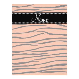 Personalized name light orange zebra stripes flyer