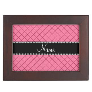 Personalized name light pink grid pattern memory box