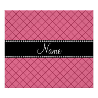 Personalized name light pink grid pattern posters