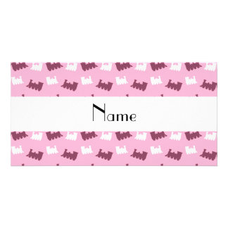 Personalized name light pink train pattern photo greeting card