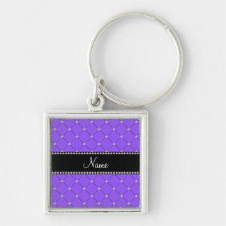 Personalized name Light purple diamonds Silver-Colored Square Key Ring