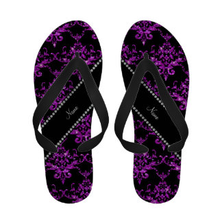 Personalized name light purple glitter damask Flip-Flops