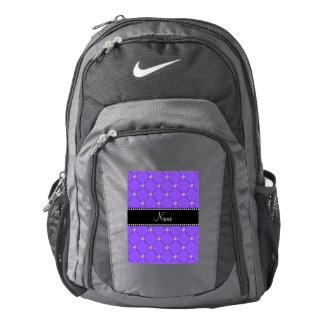 Personalized name Light purple tuft diamonds Backpack