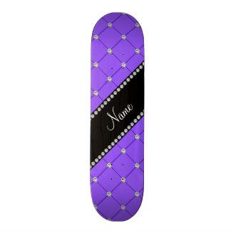 Personalized name Light purple tuft diamonds Skate Board Deck