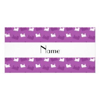 Personalized name lilac purple train pattern photo greeting card