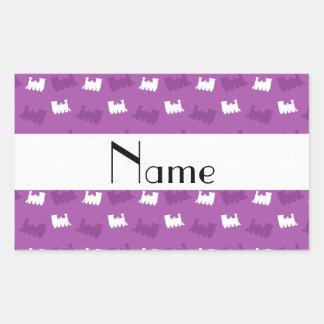 Personalized name lilac purple train pattern rectangle sticker