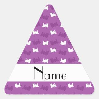 Personalized name lilac purple train pattern sticker