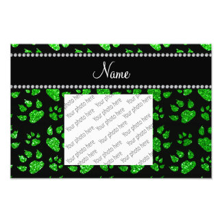 Personalized name lime green glitter cat paws photo art