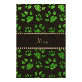 Personalized name lime green glitter cat paws photo cork paper